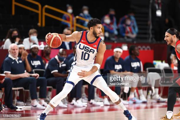 Jayson Tatum of the USA Men's National Team looks to drive against Iran during the 2020 Tokyo Olympics on July 28, 2021 at the Saitama Super Arena in...