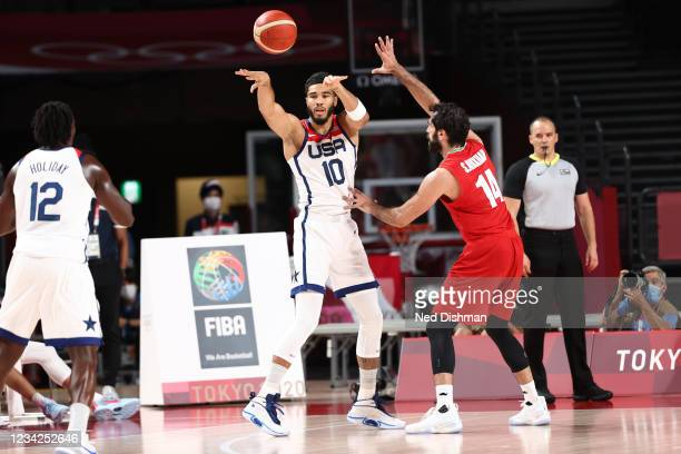 Jayson Tatum of the USA Men's National Team passes against Iran during the 2020 Tokyo Olympics on July 28, 2021 at the Saitama Super Arena in...