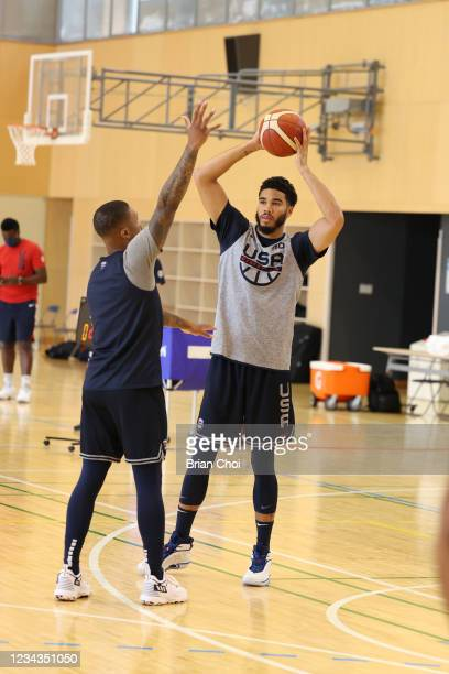 Jayson Tatum of the USA Men's National Team passes the ball during USAB Mens National Team practice on July 29, 2021 in Tokyo, Japan. NOTE TO USER:...