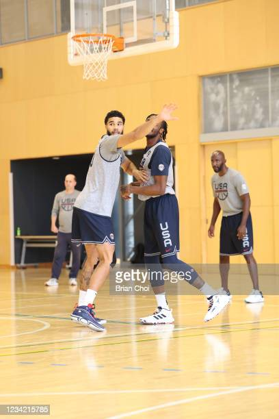 Jayson Tatum of the USA Men's National Team plays defense during the USA Basketball Men's National Team Practice on July 25, 2021 in Tokyo, Japan....