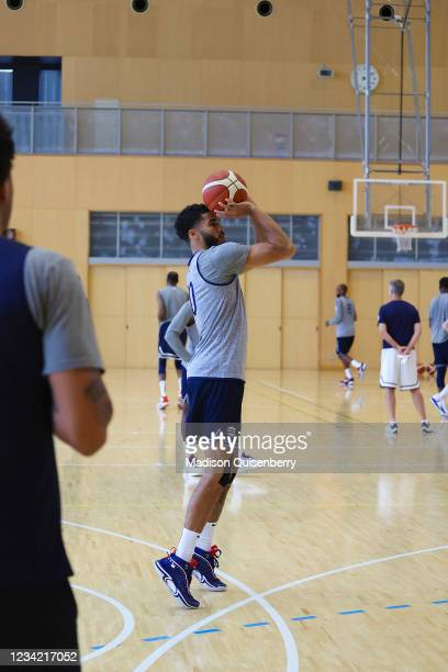 Jayson Tatum of the USA Men's National Team shoots a three point basket during the USAB Men's National Team practice on July 26, 2021 in Tokyo,...