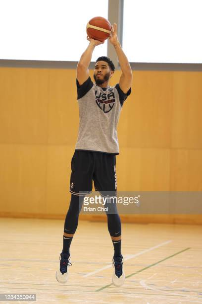 Jayson Tatum of the USA Men's National Team shoots the ball during USAB Mens National Team practice on July 29, 2021 in Tokyo, Japan. NOTE TO USER:...