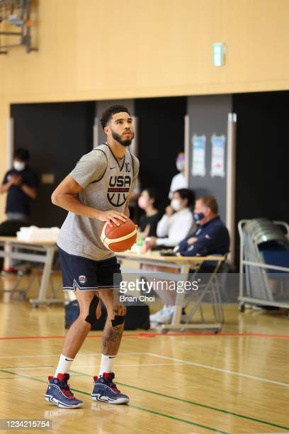 Jayson Tatum of the USA Men's National Team shoots the ball during the USA Basketball Men's National Team Practice on July 25, 2021 in Tokyo, Japan....