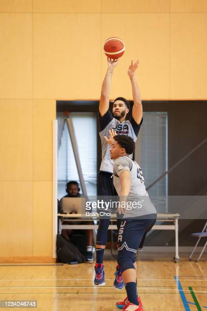 Jayson Tatum of the USA Men's National Team shoots the ball during the USAB Men's National Team practice on July 27, 2021 in Tokyo, Japan. NOTE TO...