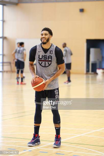Jayson Tatum of the USA Men's National Team smiles during the USAB Men's National Team practice on July 27, 2021 in Tokyo, Japan. NOTE TO USER: User...