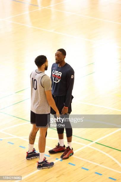 Jayson Tatum of the USA Men's National Team talks with Bam Adebayo of the USA Men's National Team the USA Basketball Men's National Team Practice on...