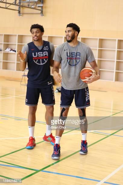 Jayson Tatum of the USA Men's National Team works with Keldon Johnson of the USA Men's National Team the USA Basketball Men's National Team Practice...