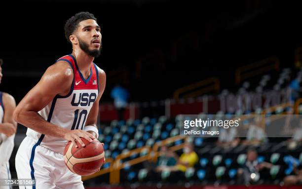 Jayson Tatum of USA controls the ball during the Basketball Preliminary Round Group A Match between United States and Islamic Republic of Iran on day...