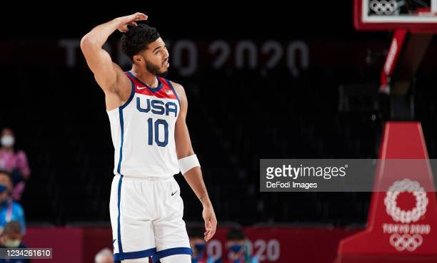 Jayson Tatum of USA looks on during the Basketball Preliminary Round Group A Match between United States and Islamic Republic of Iran on day five of...