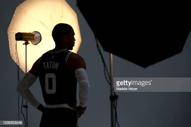 Jayson Tatum poses for a photo during Boston Celtics Media Day on September 24 2018 in Canton Massachusetts