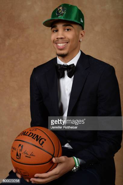 Jayson Tatum poses for a portrait after being drafted number three overall to the Boston Celtics during the 2017 NBA Draft on June 22 2017 at...