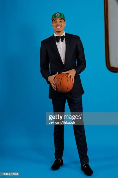 Jayson Tatum poses for portraits after being selected third overall by the Boston Celtics at the 2017 NBA Draft on June 22 2017 at Barclays Center in...