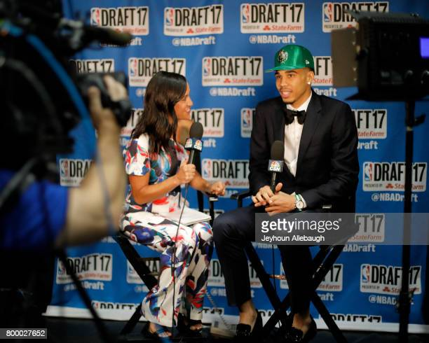 Jayson Tatum speaks to the media after being selected third overall by the Boston Celtics at the 2017 NBA Draft on June 22 2017 at Barclays Center in...