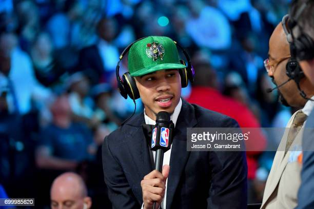 Jayson Tatum talks to the media after being selected third overall by the Boston Celtics in the 2017 NBA Draft on June 22 2017 at Barclays Center in...
