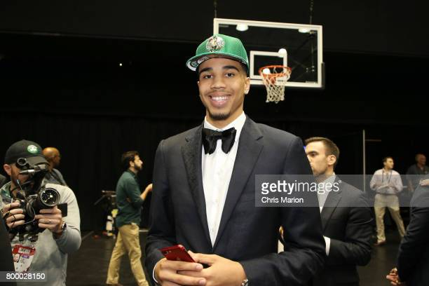 Jayson Tatum the number three pick selected by the Boston Celtics poses for a photo at the 2017 NBA Draft on June 22 2017 at Barclays Center in...