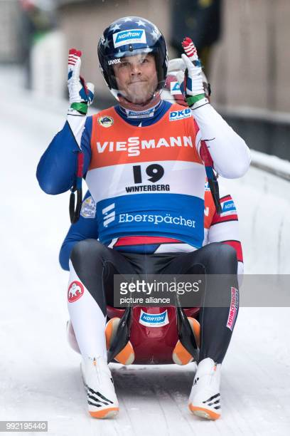 Jayson Terdiman and Matt Mortensen from the USA in action at the Men's Doubles event of the Luge World Cup in Winterberg, Germany, 25 November 2017....