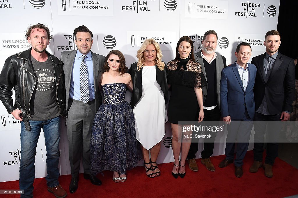 Jayson Warner Smith, Jason Sudeikis, Maisie Williams, Michelle Purple, Jessica Biel, director Bill Purple, Richard Robichaux and Justin Timberlake attend 'The Devil And The Deep Blue Sea' Premiere during 2016 Tribeca Film Festival at BMCC John Zuccotti Theater on April 14, 2016 in New York City.