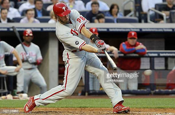 Jayson Werth of the Philadelphia Phillies connects on a fourth inning RBI single against the New York Yankees on June 15 2010 at Yankee Stadium in...