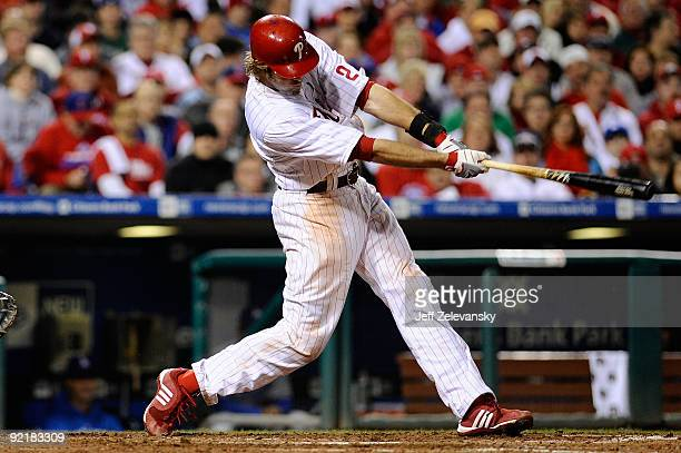 Jayson Werth of the Philadelphia Phillies hits a seventh inning home run against the Los Angeles Dodgers in Game Five of the NLCS during the 2009 MLB...