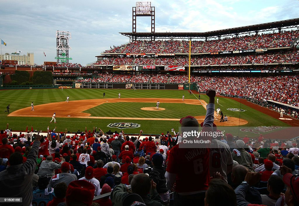 Jayson Werth #28 of the Philadelphia Phillies hits a solo home run in the bottom of the eighth inning against the Colorado Rockies in Game Two of the NLDS during the 2009 MLB Playoffs at Citizens Bank Park on October 8, 2009 in Philadelphia, Pennsylvania.