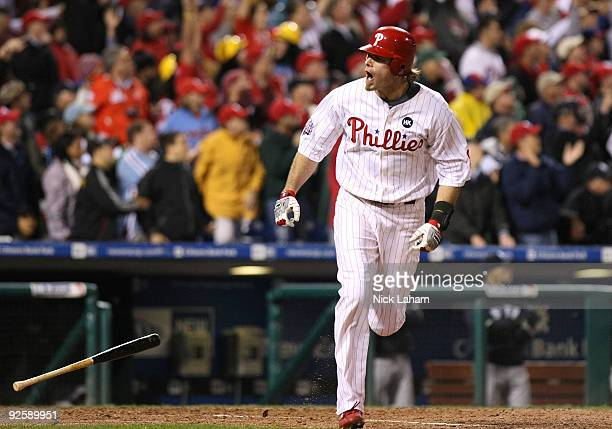 Jayson Werth of the Philadelphia Phillies hits a solo home run in the sixth inning against the New York Yankees in Game Three of the 2009 MLB World...