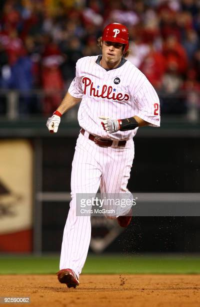 Jayson Werth of the Philadelphia Phillies runs out a solo home run in the sixth inning against the New York Yankees in Game Three of the 2009 MLB...