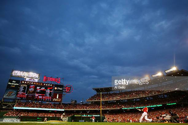 Jayson Werth of the Washington Nationals bats against Sergio Romo of the San Francisco Giants in the eighth inning during Game One of the National...