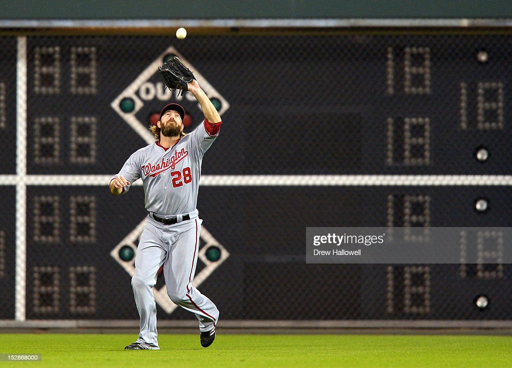 Jayson Werth #28 of the Washington Nationals catches a fly ball during the game against the Philadelphia Phillies at Citizens Bank Park on September 27, 2012 in Philadelphia, Pennsylvania.