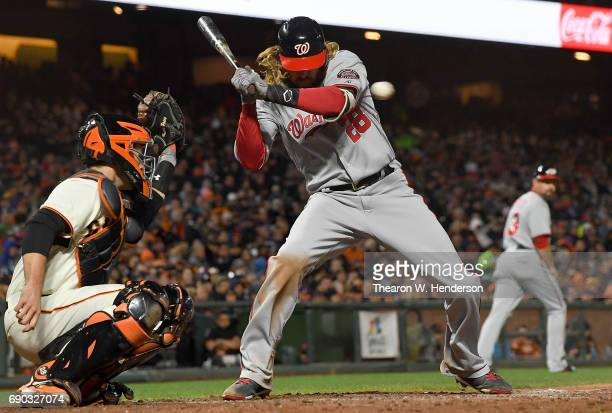 Jayson Werth of the Washington Nationals ducks out of the way of a pitch from Bryan Morris of the San Francisco Giants in the top of the fifth inning...
