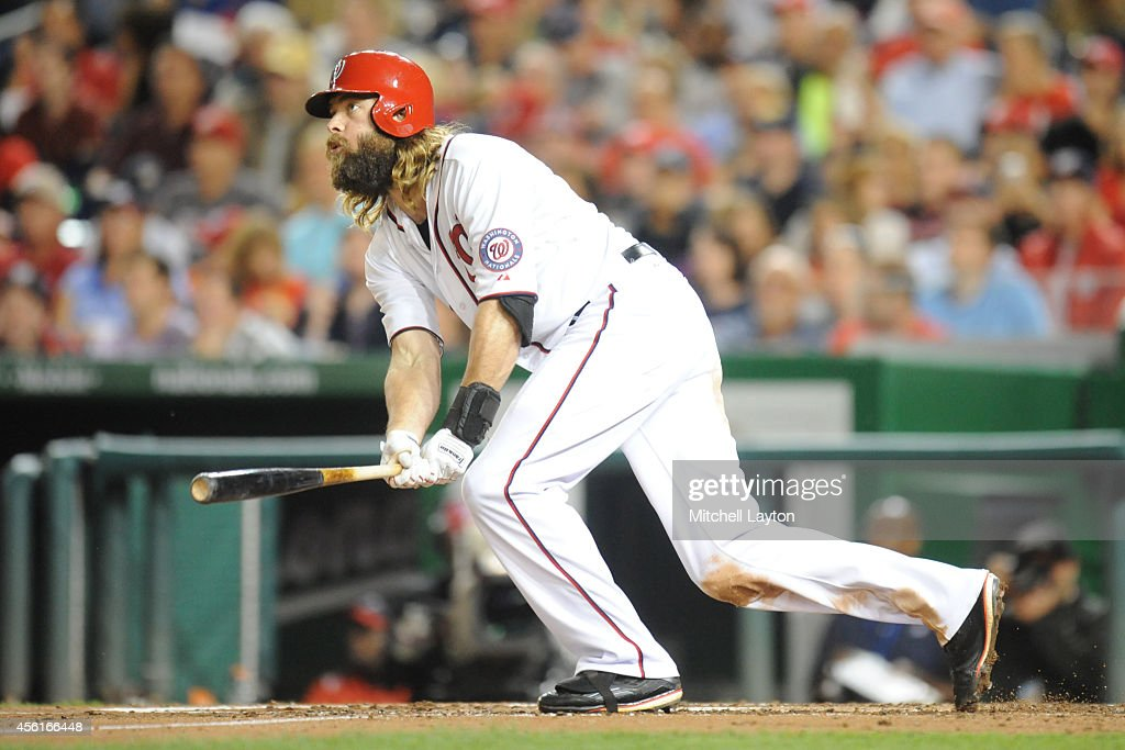 Jayson Werth #28 of the Washington Nationals gets one of three hits during game two of a doubleheader baseball game against the Miami Marlins on September 26, 2014 at Nationals Park in Washington, DC. The Marlins won 15-7.