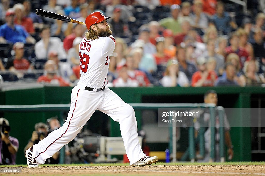 Jayson Werth #28 of the Washington Nationals hits a double in the seventh inning against the Atlanta Braves at Nationals Park on August 12, 2016 in Washington, DC.