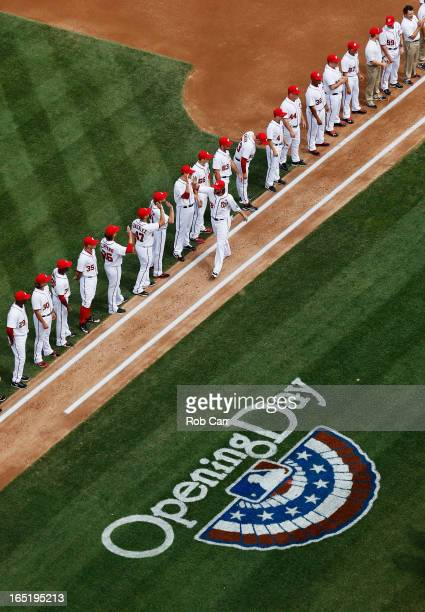 Jayson Werth of the Washington Nationals is introduced before the start of the Nationals opening day game against the Miami Marlins Nationals Park on...
