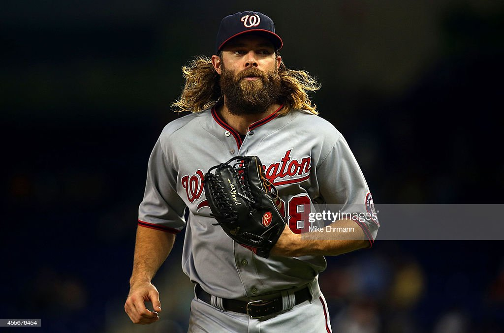 Jayson Werth #28 of the Washington Nationals looks on during a game against the Miami Marlins at Marlins Park on September 18, 2014 in Miami, Florida.