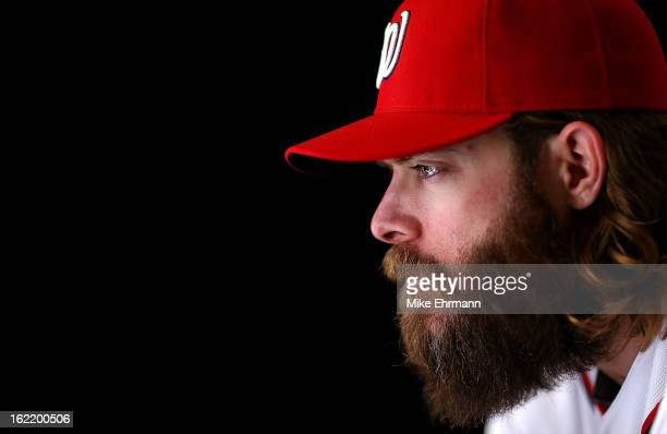 Jayson Werth of the Washington Nationals poses for a portrait during photo day at Space Coast Stadium on February 20 2013 in Viera Florida