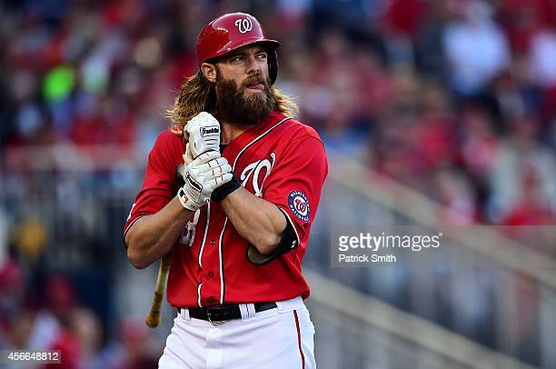 Jayson Werth of the Washington Nationals reacts after striking out in the first inning against Tim Hudson of the San Francisco Giants during Game Two...