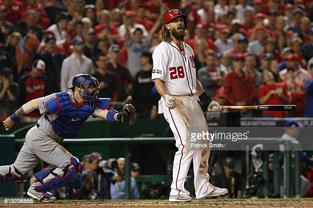 Jayson Werth of the Washington Nationals reacts after striking out for the final out of the ninth inning to be defeated by the Los Angeles Dodgers 43...