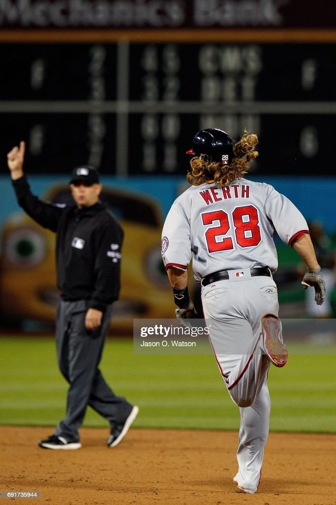 Jayson Werth #28 of the Washington Nationals rounds the bases after hitting a home run against the Oakland Athletics during the sixth inning at the Oakland Coliseum on June 2, 2017 in Oakland, California. The Washington Nationals defeated the Oakland Athletics 13-3.