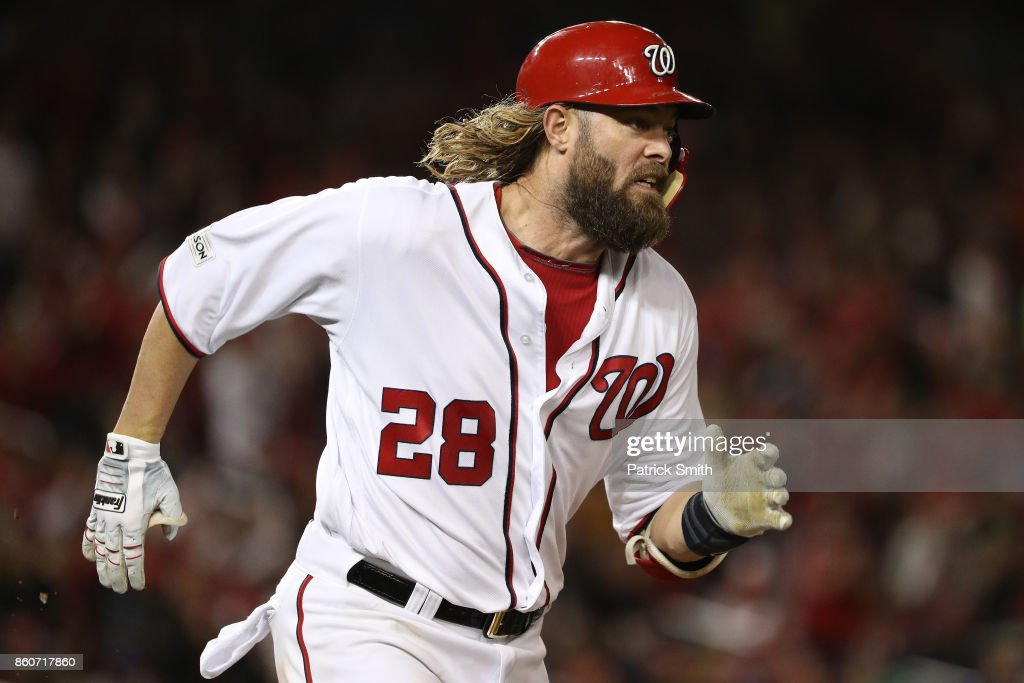 Jayson Werth #28 of the Washington Nationals runs after hitting a single against the Chicago Cubs during the fourth inning in game five of the National League Division Series at Nationals Park on October 12, 2017 in Washington, DC.