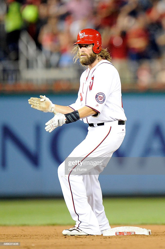 Jayson Werth #28 of the Washington Nationals stands on second base after hitting a double in the seventh inning against the Atlanta Braves at Nationals Park on August 12, 2016 in Washington, DC.