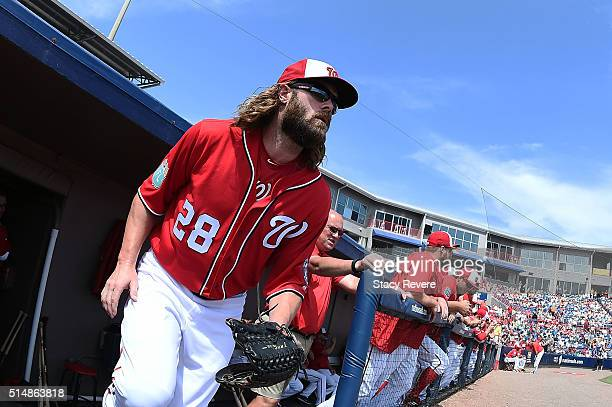 Jayson Werth of the Washington Nationals takes the field prior to a spring training game against the New York Mets at Space Coast Stadium on March 11...