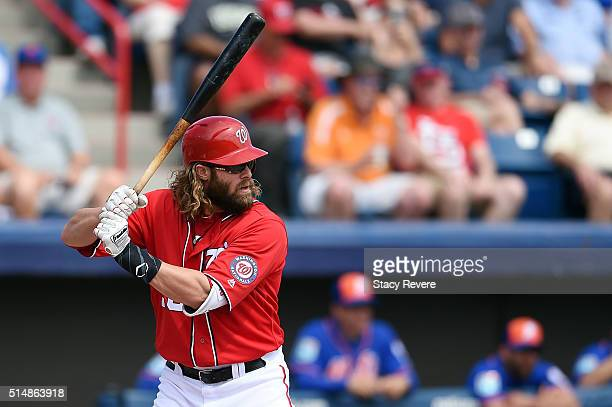 Jayson Werth of the Washington Nationals waits for a pitch during the third inning of a spring training game against the New York Mets at Space Coast...