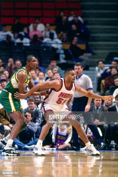 Jayson Williams of the New Jersey Nets posts up during a game played on November 15 1994 at the Continental Airlines Arena in East Rutherford New...