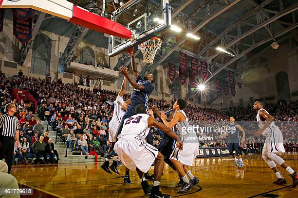 JayVaughn Pinkston of the Villanova Wildcats during a game against the Penn Quakers at the Palestra on the campus of the University of Pennsylvania...