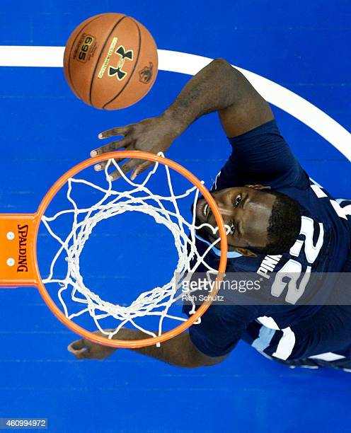 JayVaughn Pinkston of Villanova looks up at his shot against Seton Hall during the first half of an NCAA college basketball game on January 3 2015 at...