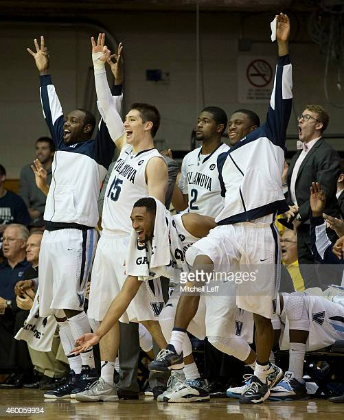 JayVaughn Pinkston Ryan Arcidiacono Darrun Hilliard Kris Jenkins and Dylan Ennis of the Villanova Wildcats react after a made basket in the final...