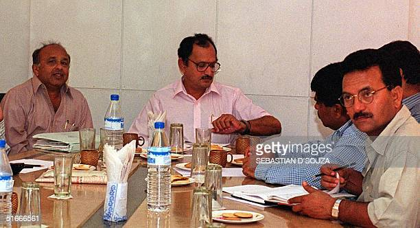 Jaywant Lele secretary of the Board of Cricket Control in India Ajit Wadekar chairman selection committee and Madan Lal attend a meeting of cricket...