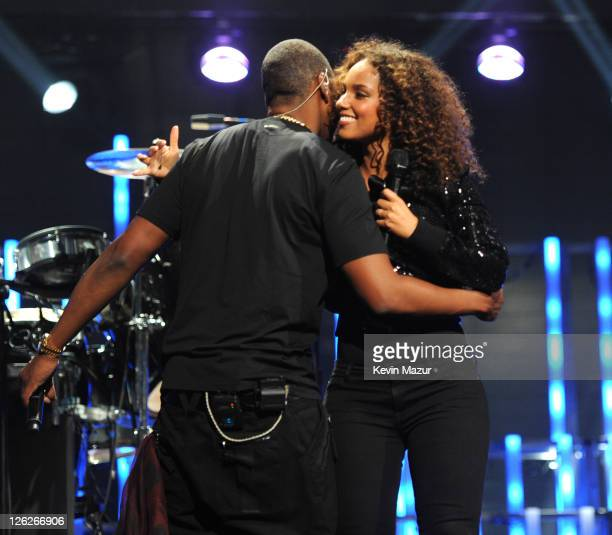 Jay-Z and Alicia Keys perform onstage at the iHeartRadio Music Festival held at the MGM Grand Garden Arena on September 23, 2011 in Las Vegas, Nevada.