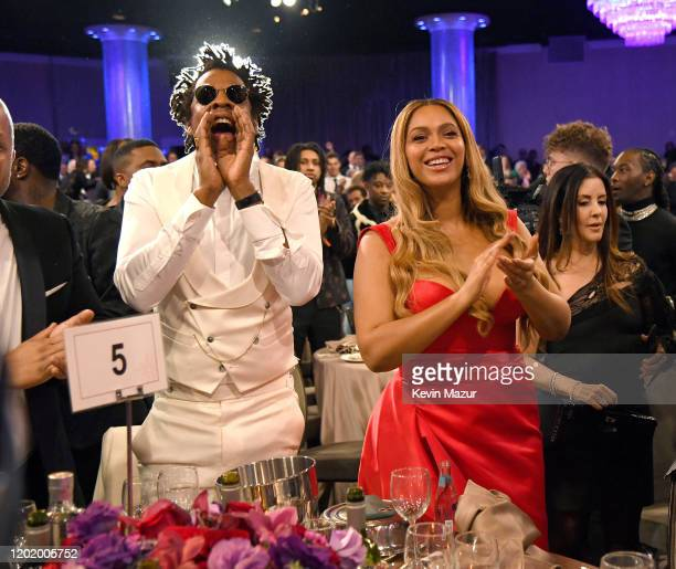 "Jay-Z and Beyoncé attend the Pre-GRAMMY Gala and GRAMMY Salute to Industry Icons Honoring Sean ""Diddy"" Combs on January 25, 2020 in Beverly Hills,..."