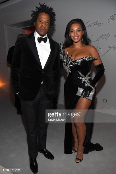 Jay-Z and Beyoncé Knowles-Carter attend Sean Combs 50th Birthday Bash presented by Ciroc Vodka on December 14, 2019 in Los Angeles, California.