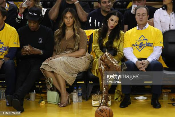 Jay-Z and Beyonce attend Game Three of the 2019 NBA Finals between the Golden State Warriors and the Toronto Raptors at ORACLE Arena on June 05, 2019...